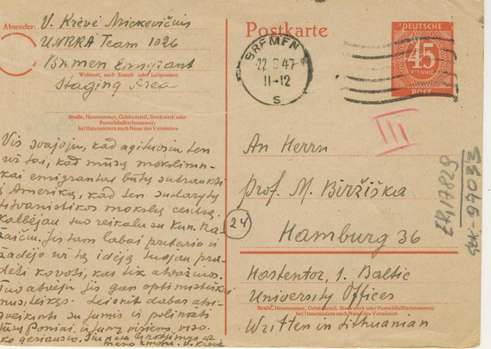 V. Krėvės atvirlaiškis M. Biržiškai. 1947 m. rugpjūčio 24 d.