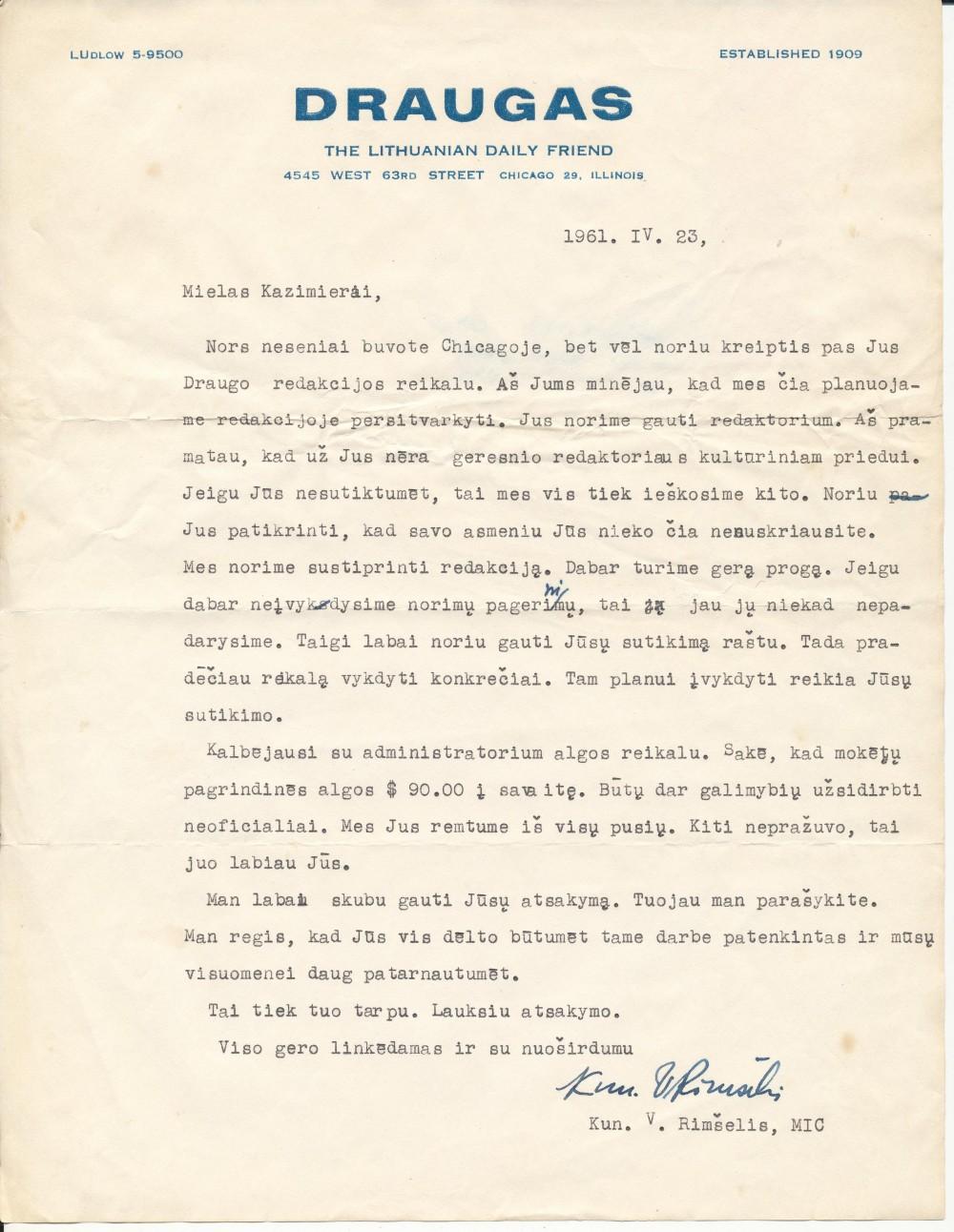 """V. Rimšelio laiškas-kvietimas K. Bradūnui redaguoti dienraščio """"Draugas"""" kultūros ir meno priedą"""