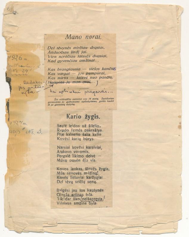 Vaclovo Šiugždinio sąsiuvinis su pirmųjų kūrybinių bandymų iškarpomis. 1926–1927 m., 3