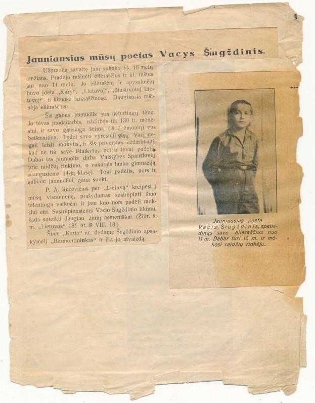 Vaclovo Šiugždinio sąsiuvinis su pirmųjų kūrybinių bandymų iškarpomis. 1926–1927 m., 4