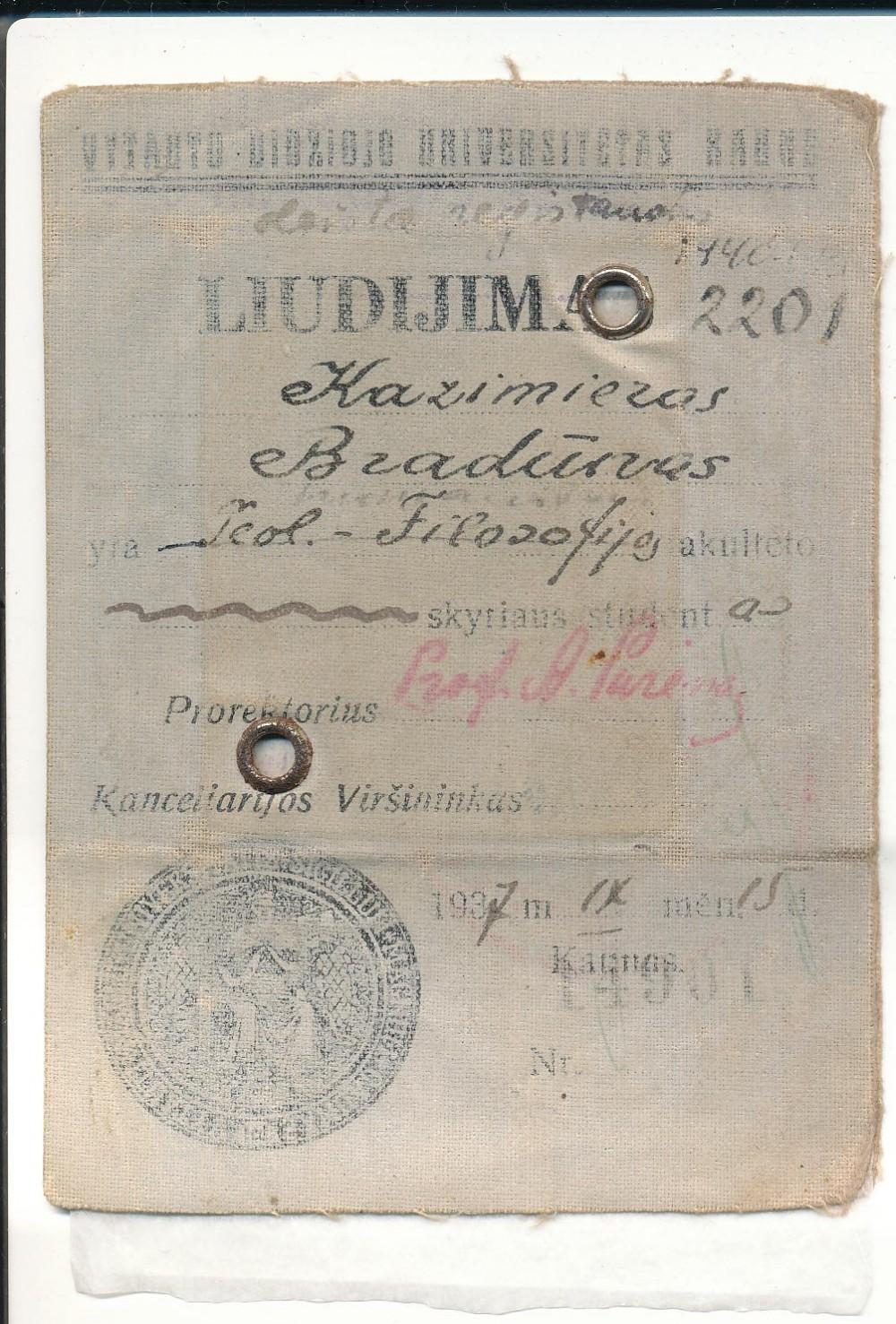Vytauto Didžiojo universiteto studento liudijimas, išduotas K. Bradūnui 1937 09 15 Kaune