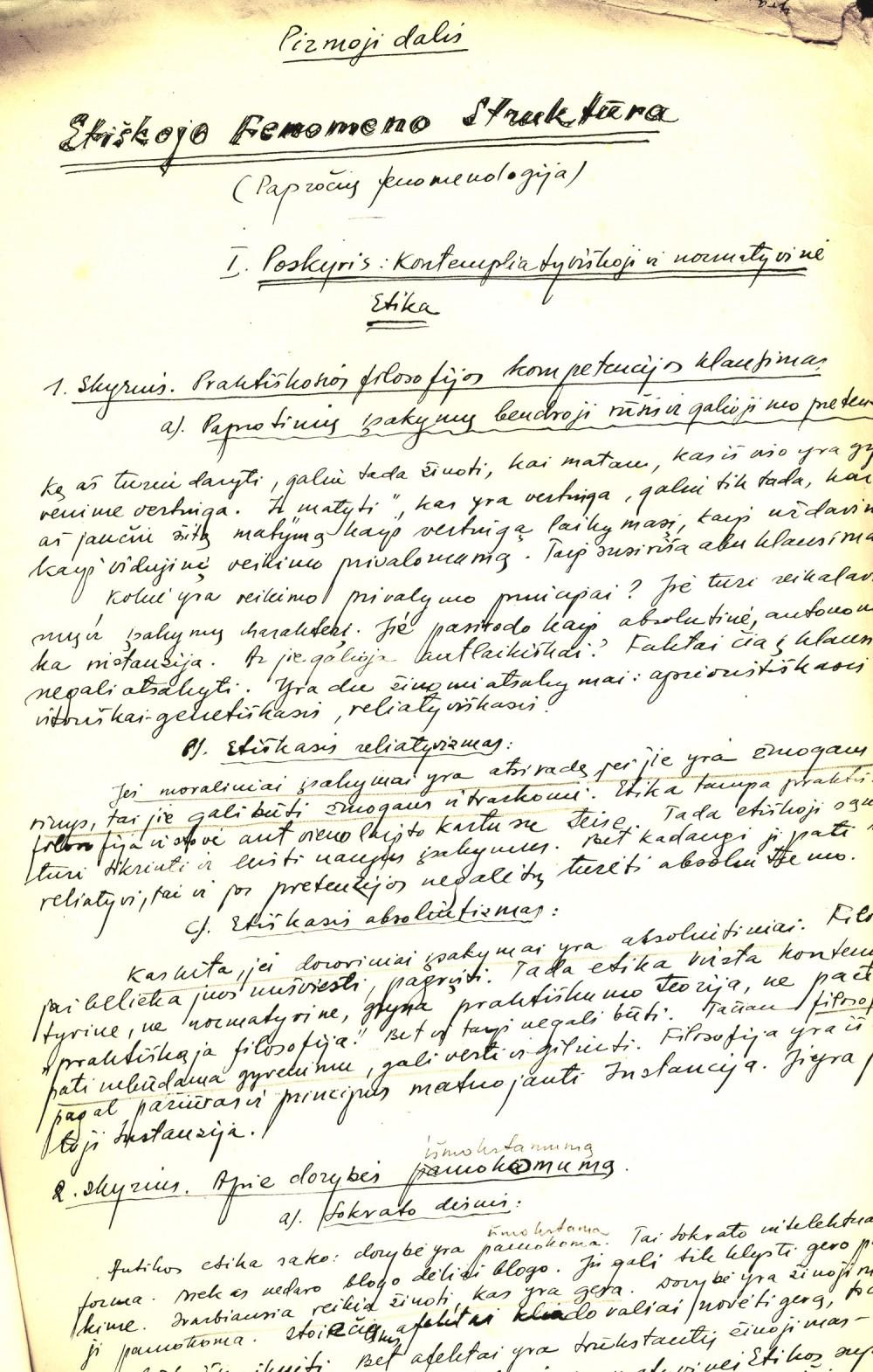 Vytauto Mačernio paskaitų konspektų fragmentas
