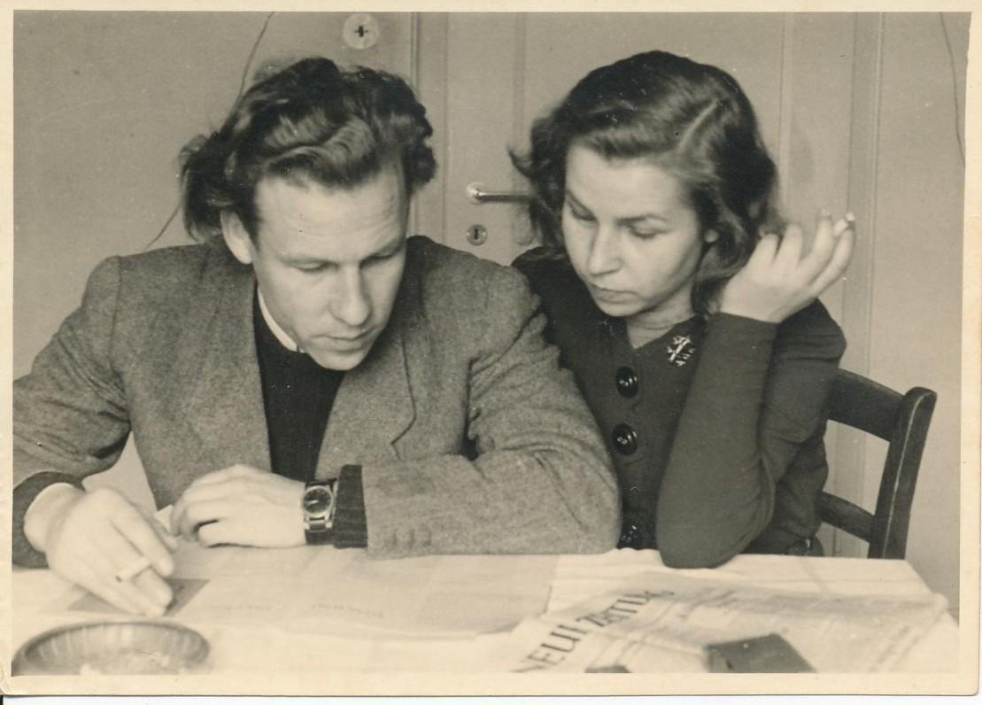 Z. Nagytė su broliu Henriku. Freiburgas, 1948 m.