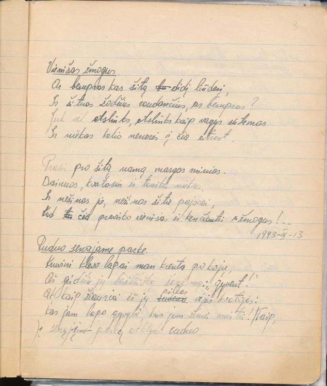 Z. Nagytės pirmojo eilėraščio rankraštis