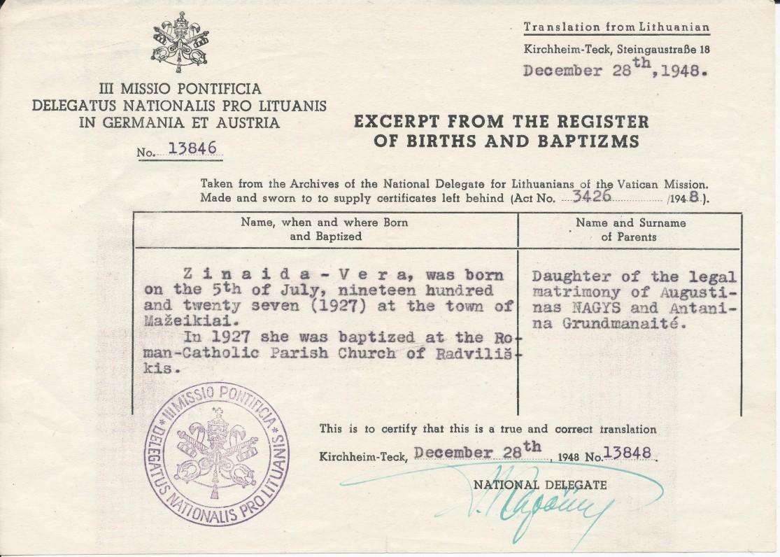 Z. V. Nagytės gimimo liudijimo kopija, išduota Vokietijoje