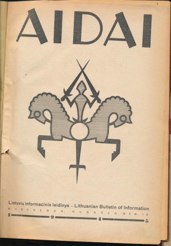"""Žurnalas """"Aidai"""", kurį 1945–1948 metais redagavo K. Bradūnas"""