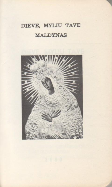 """Dieve, myliu tave"". 1980 m. Maldyno titulinis lapas"