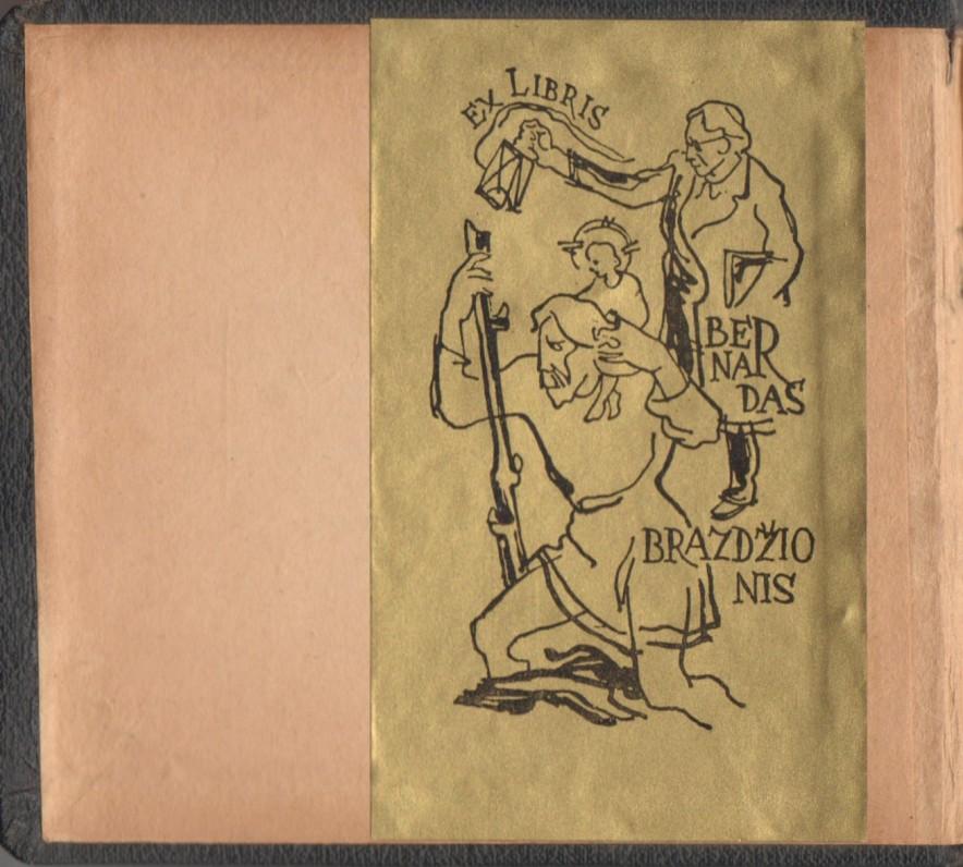 """""""Knyga giesmių arba Kanticzkos"""". Tilžė, 1919 m. Atvartas su Bernardo Brazdžionio ekslibriu (dail. A. Vaičaitis)"""