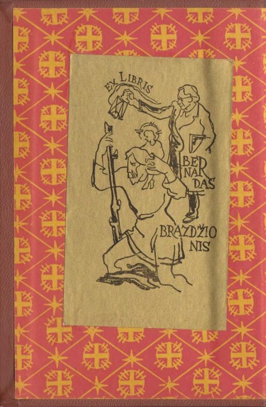 """Liturginis maldynas"". Vilnius – Kaunas. Lietuvos TSR Vyskupijų ordinarų kolegija, 1968 m. Atvartas su B. Brazdžionio exlibriu (dail. A. Vaičaitis)"