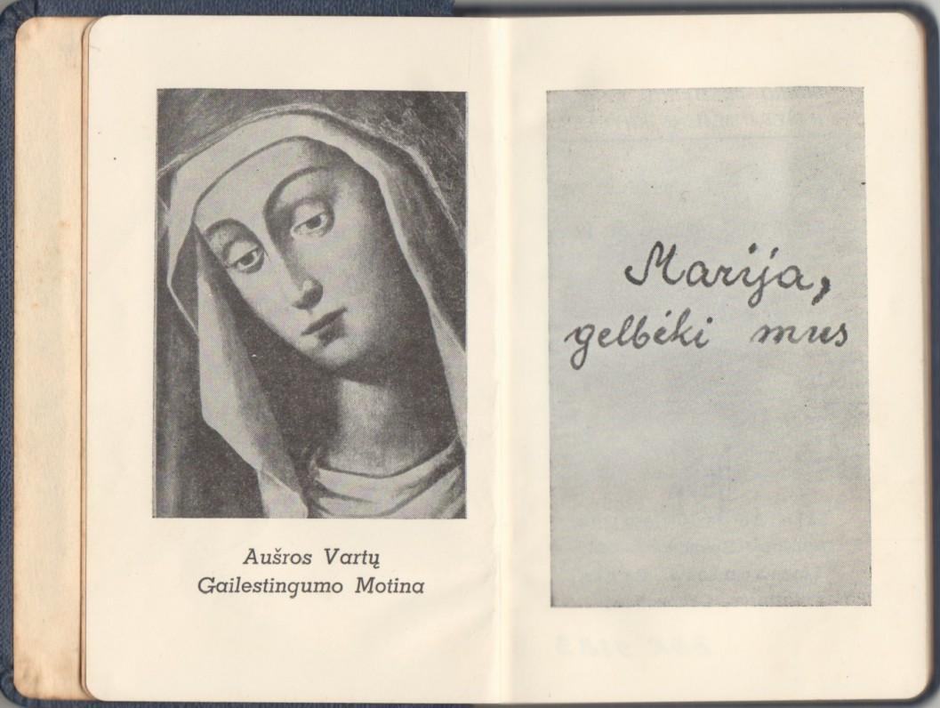 """""""Marija, gelbėki mus"""". Putnamas. Ateitis, 1959 m. Maldų knygelė. Titulinis lapas. (Pirmasis leidimas)"""