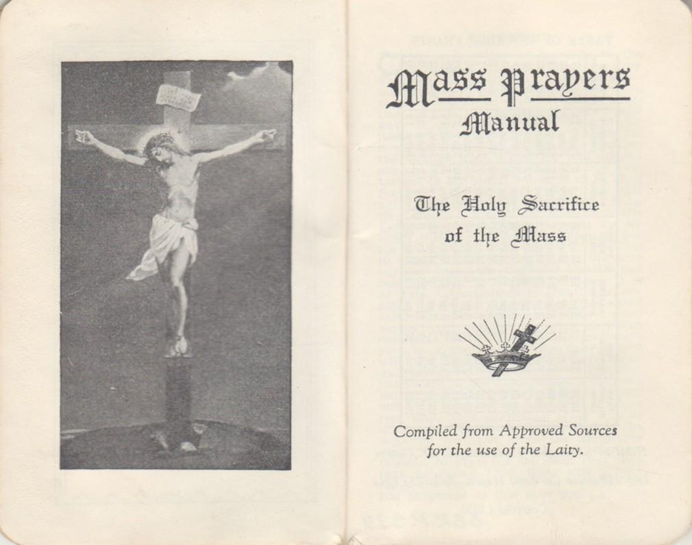 """""""Mass Prapers. Manual. The Holy Sacrifice of the Mass"""". [Šventoji Mišių auka]. [JAV, 1938 m.] Maldynas. Anglų k. Titulinis lapas"""