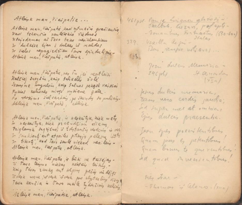"""""""Šlovinkim viešpatį"""". Klaipėda, 1928 m. Parašė kun. Adolfas Sabaliauskas. Maldyno paskutiniai lapai su Bern. Brazdžionio rankraščiu (eil. """"Atleisk man, Viešpatie…"""")"""