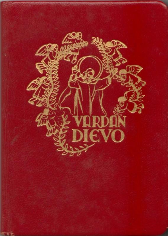 """""""Vardan Dievo. Mažųjų maldos"""". JAV, 1951m. Tekstas kun. Stasio Ylos. Iliustracijos dail. Pauliaus Augiaus. Maldyno viršelis"""
