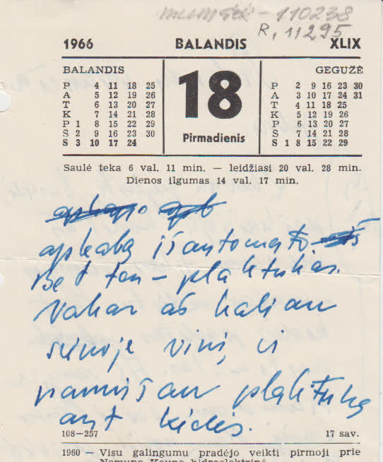 K. Maruko rankraštis ant kalendoriaus lapelio