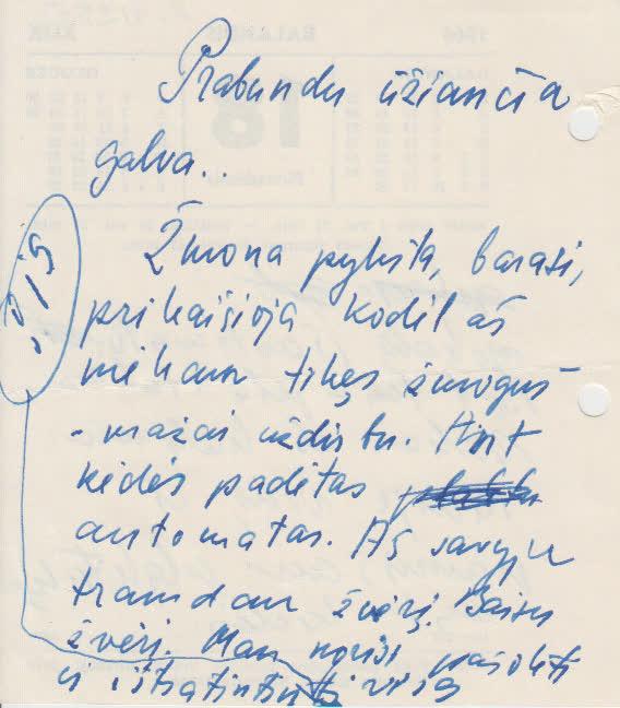 K. Maruko rankraštis ant kalendoriaus lapelio kitos pusės 1966 04 18
