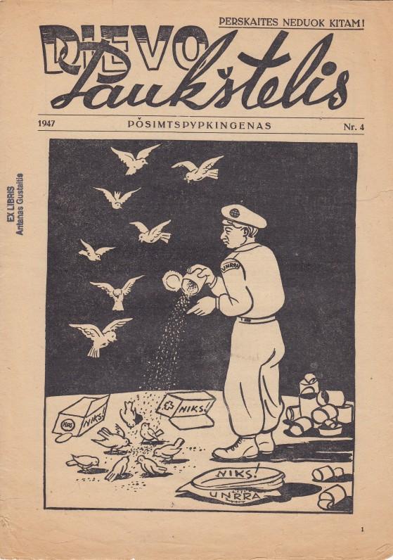 """Satyrinis laikraštėlis """"Dievo paukštelis"""", kurio pavadinimas kilo iš pirmųjų išvietintųjų stovyklose gyvenusių asmenų, vadintų """"Displaced persons"""" pavadinimo raidžių. Leido P. Andriušis, A. Gustaitis buvo aktyvus bendradarbis"""