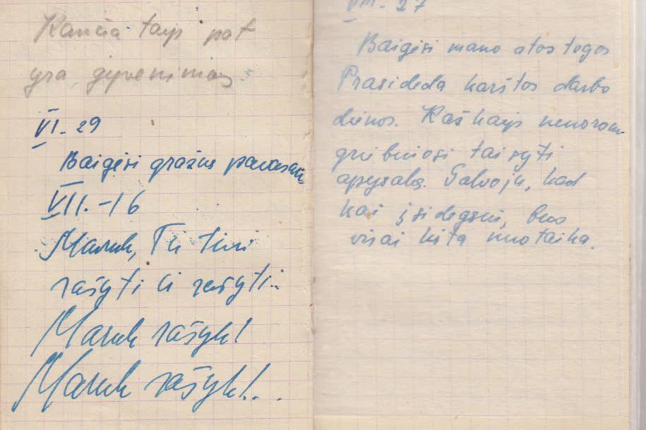 Iš užrašų knygelės. 1950. VI. 29