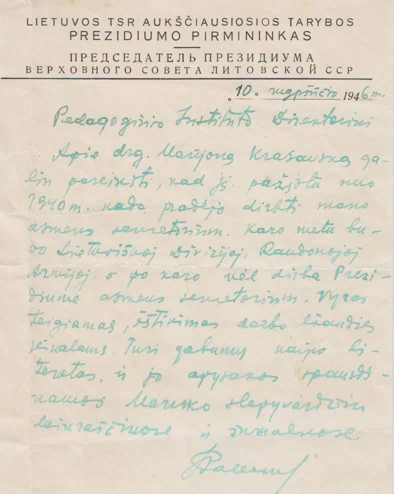 9.LTSR Aukščiausio prezidiumo pirmininko rekomendacija Pedagoginio instituto direktoriui, 1946 08 10
