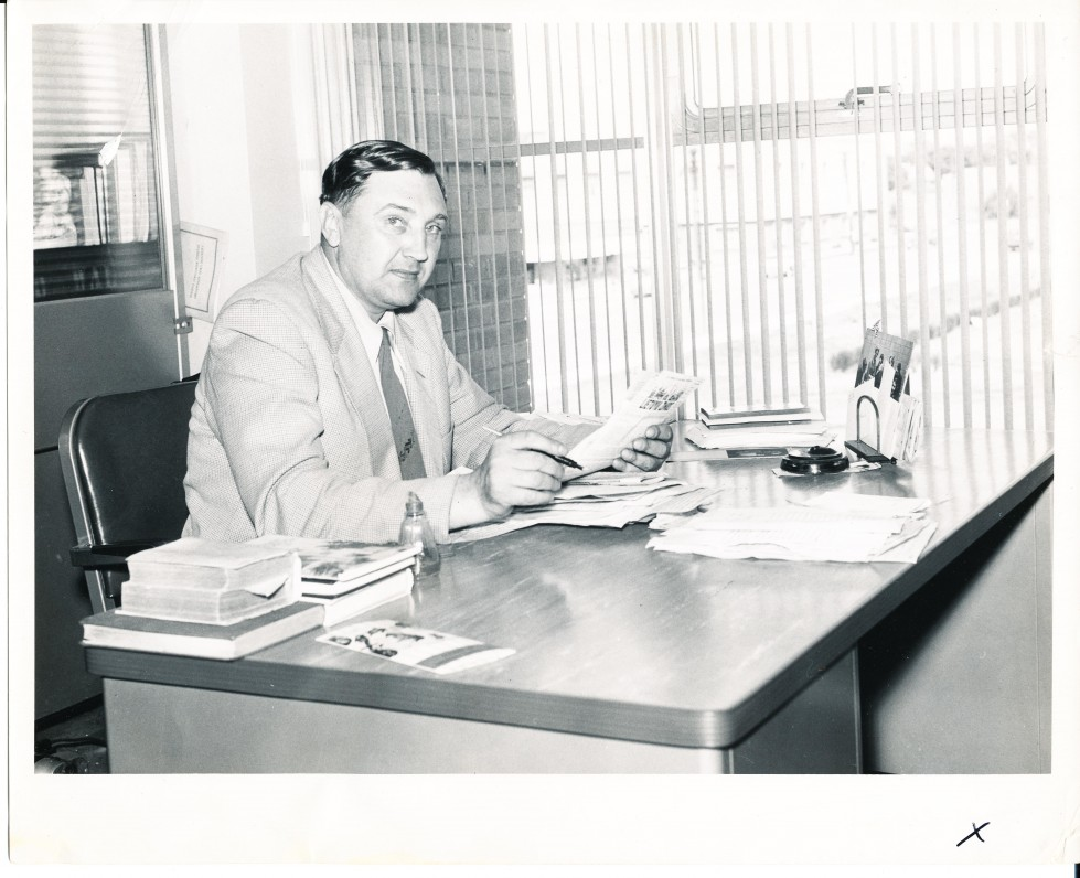 """A. Baronas """"Draugo"""" redakcijoje. Čikaga. 1955 m."""