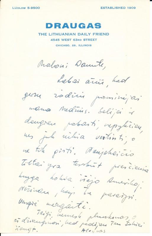 A. Barono laiškas D. Brazytei-Bindokienei