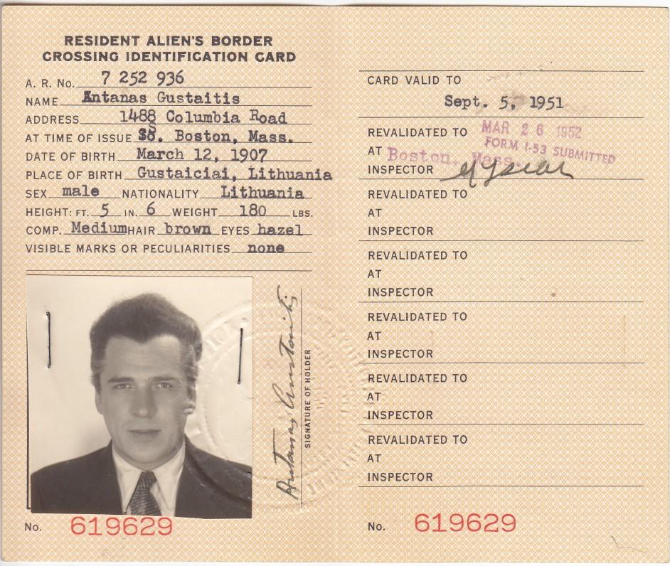 A. Gustaičio asmens tapatybės kortelė. JAV. 1951 09 05
