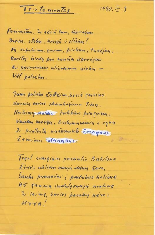 A. Gustaičio rankraštis. 1990 04 03