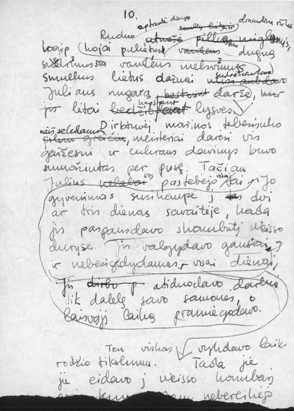 """A. Landsbergio romano """"Kelionė"""" rankraščio fragmentai"""