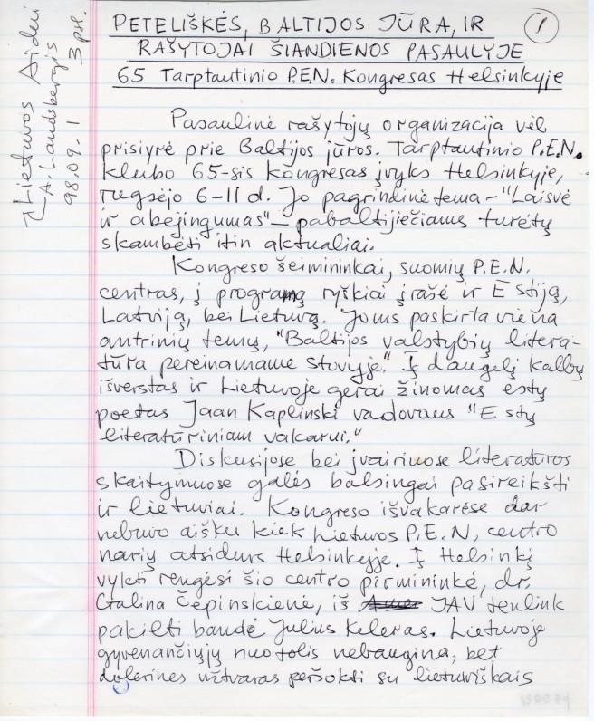 """A. Landsbergio straipsnis """"Peteliškės, Baltijos jūra…."""" 1998 m."""