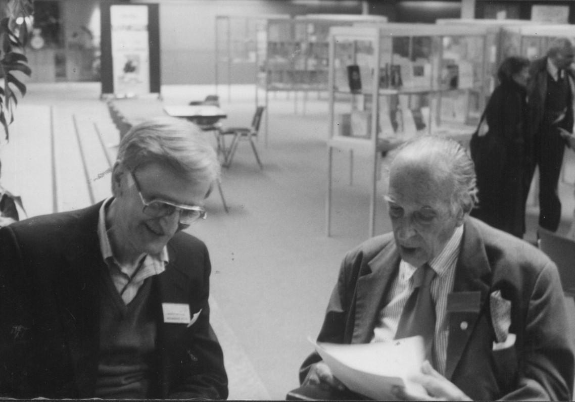 A. Landsbergis su buvusiu PEN klubo prezidentu Renė Tavernjė. Šveicarija, 1987 m.