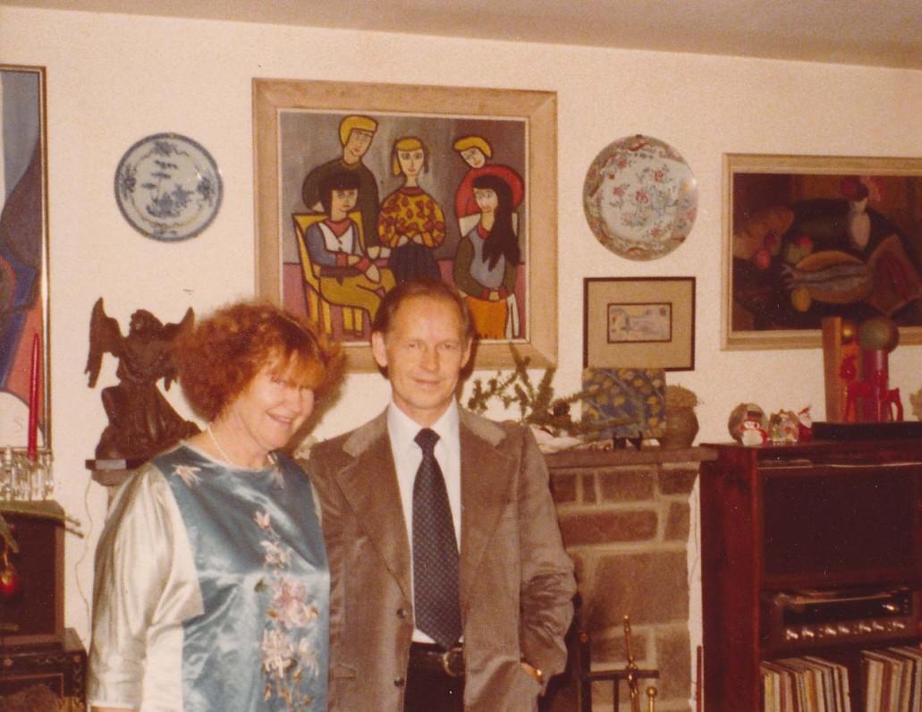 A. Nyka-Niliūnas su žmona Aleksandra savo namuose. Baltimorė, 1980 m.
