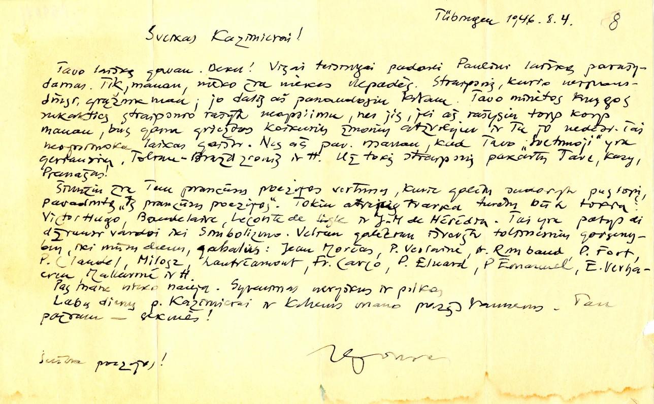A. Nykos-Niliūno laiškas K. Bradūnui