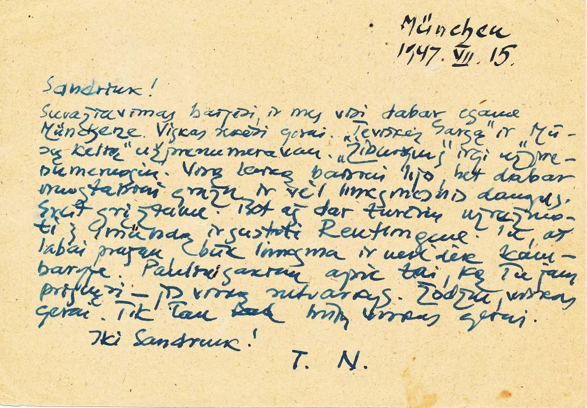 A. Nykos-Niliūno laiškas žmonai Aleksandrai