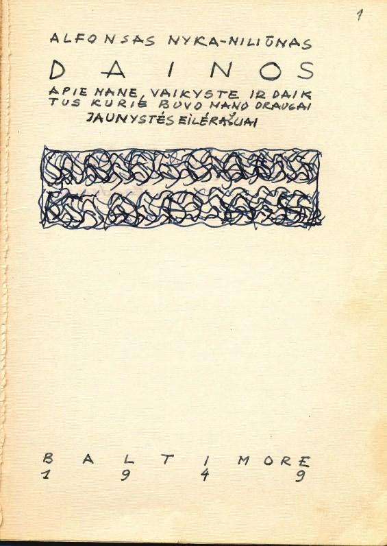 A. Nykos-Niliūno rankraštinė knyga
