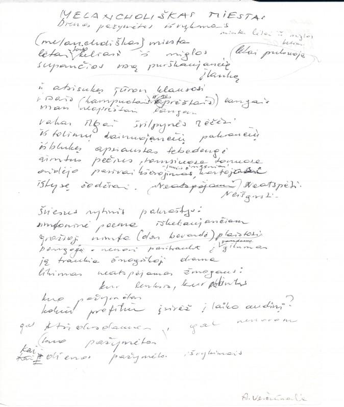 "A. Veščiūnaitės eilėraštis ""Melancholiškas miestas"""