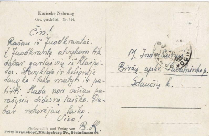 Artimo draugo Broniaus Krivicko atvirlaiškis iš Juodkrantės į Gataučius