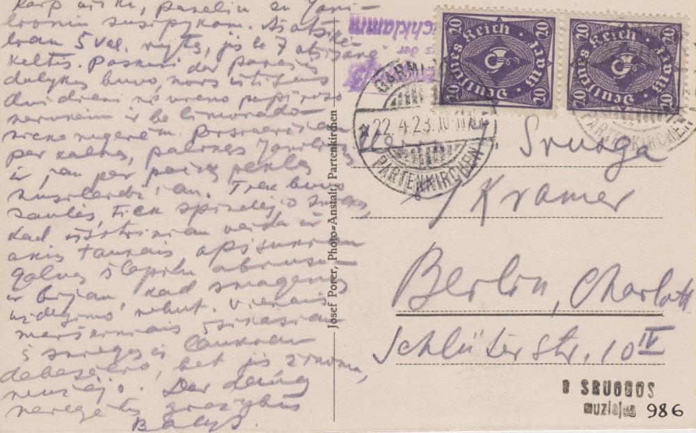 Balio Sruogos laiškas Juozapui Sruogai. Miunchenas, 1923 04 22 (į Berlyną). Atvartas