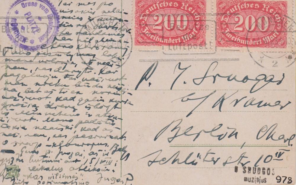 Balio Sruogos laiškas Juozapui Sruogai. Miunchenas, 1923 08 14 (į Berlyną). Atvartas