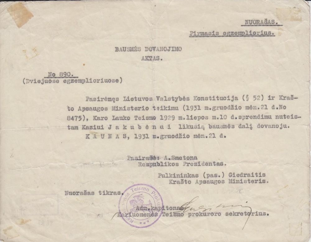 Bausmės dovanojimo aktas. Kaunas. 1931 12 21