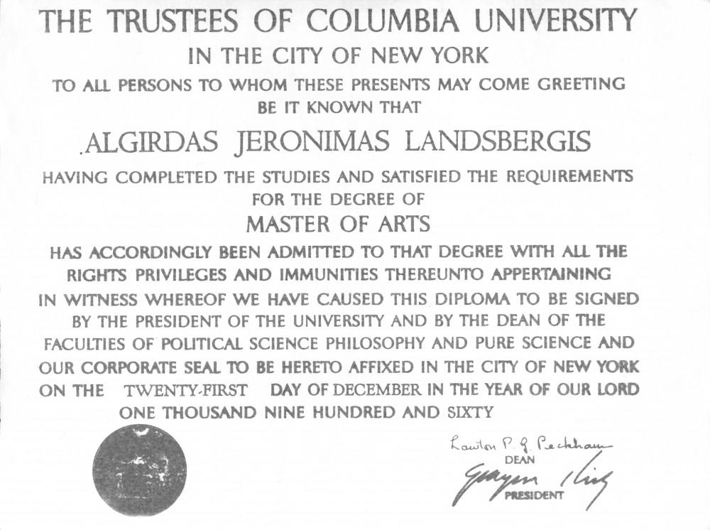 Bruklino koledžo menų bakalauro diplomas. 1951 m.