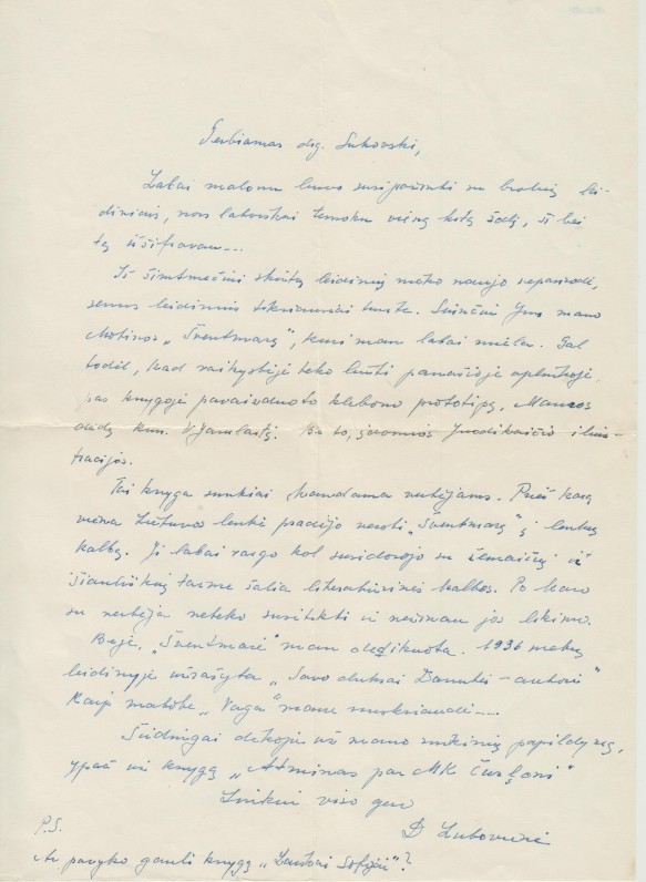 D. Čiurlionytės laiškas vertėjui Alfonsui Sukovskiui