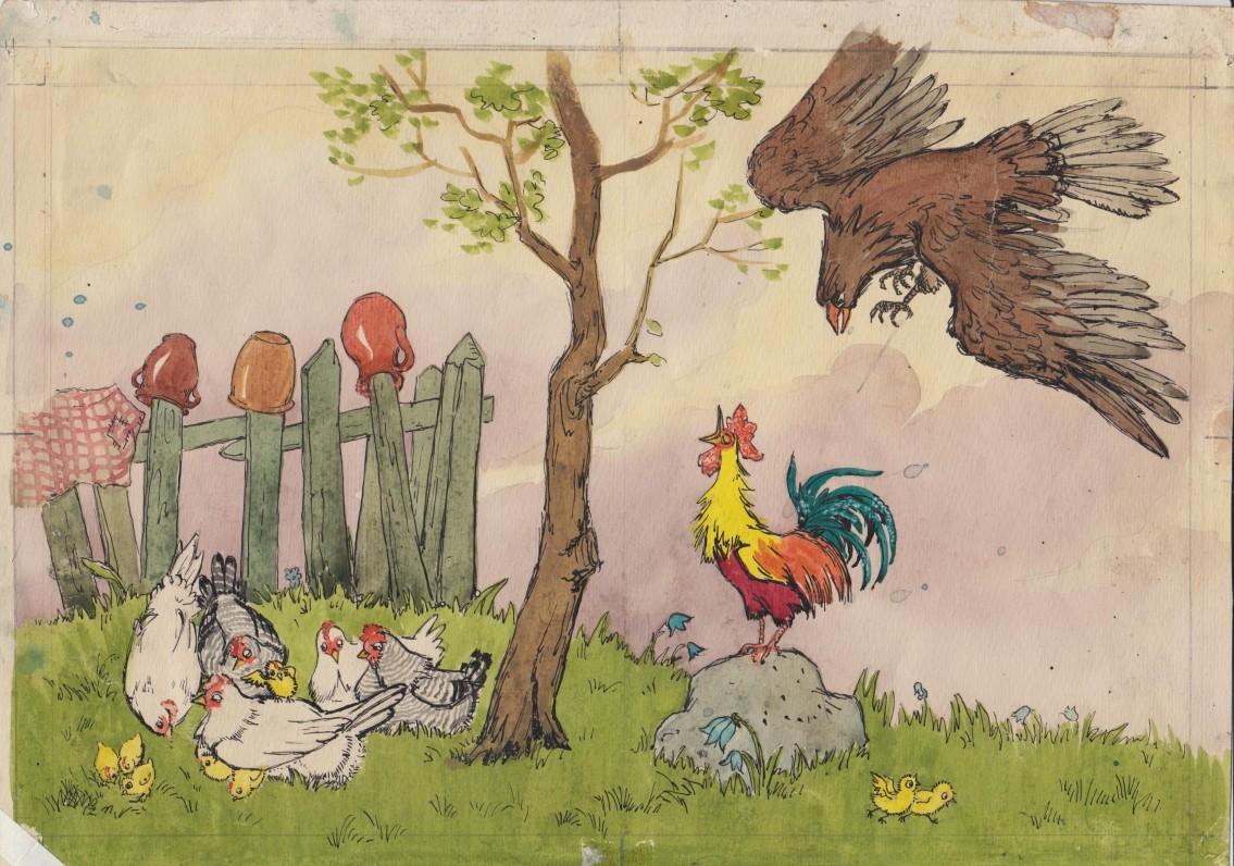 """Dail. I. Geniušienės iliustracija knygai """"Jonytės pasakėlės"""". 1956 m., 3"""