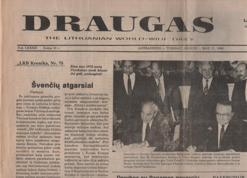 """Dienraštis """"Draugas"""". 1988 05 17. Nr. 96. Čikaga"""