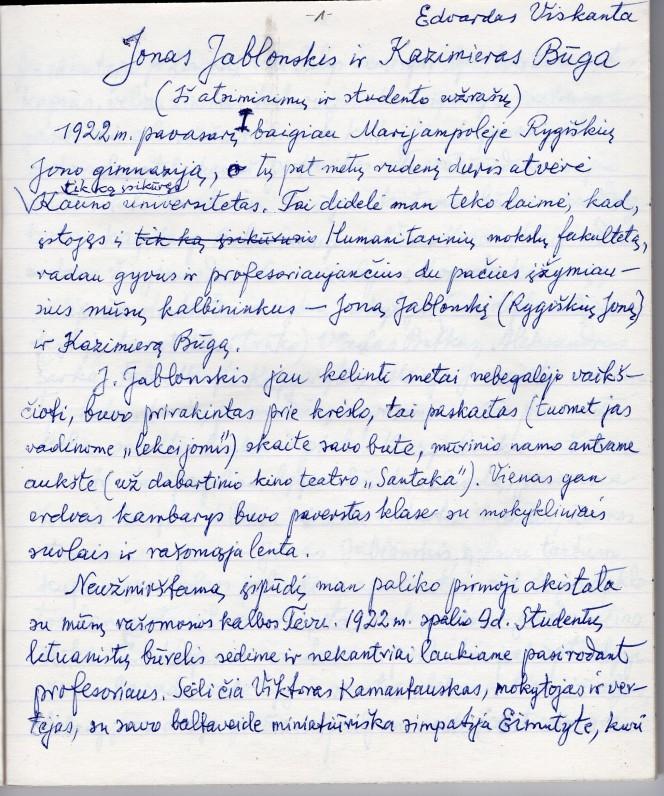Edvardo Viskantos atsiminimai apie J. Jablonskį ir K. Būgą. 1 psl. Kaunas. 1986 m.