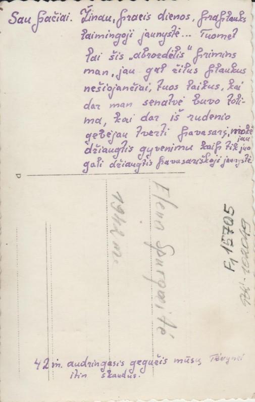 """Elenos Spurgaitės autografas ant nuotraukos """"Sau pačiai"""". 1942 m."""