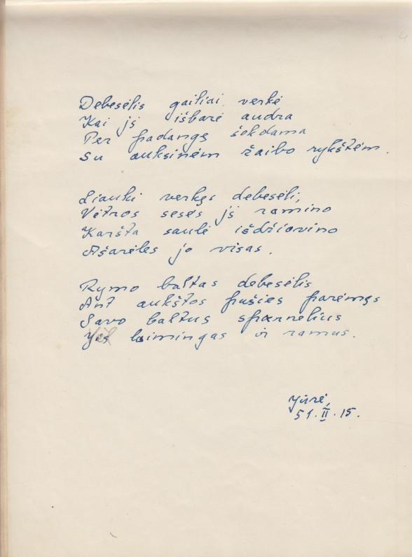 Elenos Spurgaitės eilėraščių rankraštis