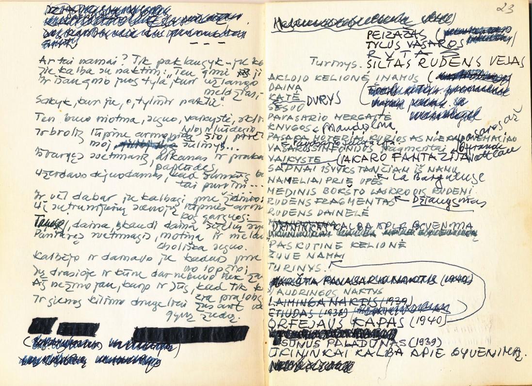 """Fragmentas iš rankraštinės A. Nykos-Niliūno knygos """"Dainos apie mane"""""""