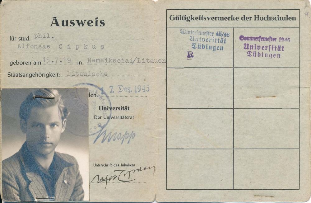 Freiburgo universiteto filosofijos fakulteto studento pažymėjimas