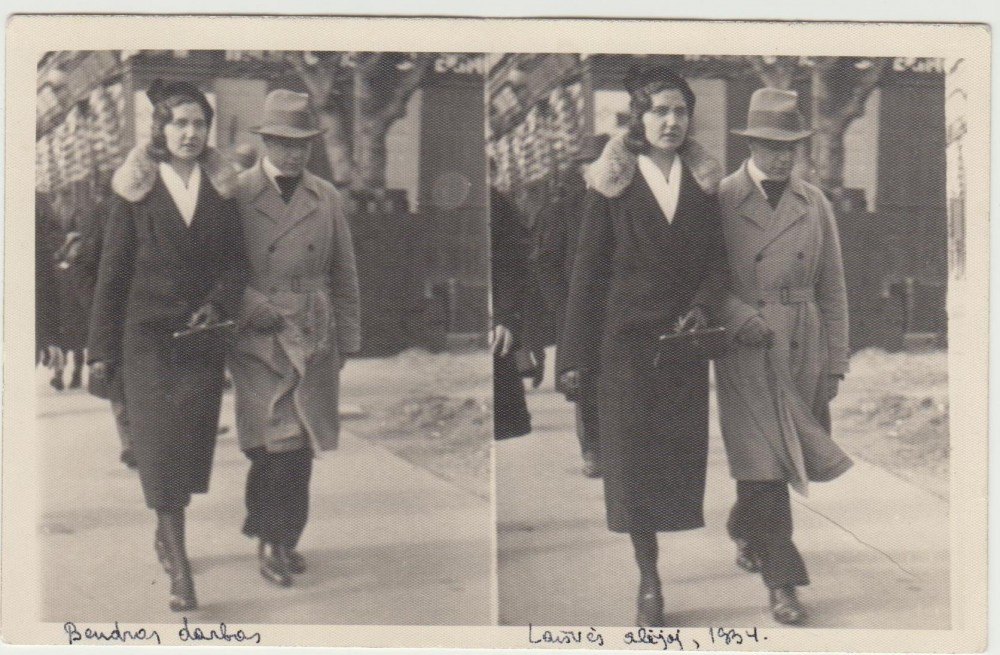 G. Tulauskaitė su B. Babrausku Laisvės alėjoje. Kaunas. 1940 m.