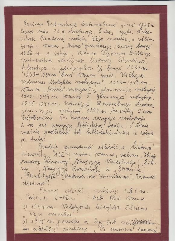 G. Tulauskaitės autobiografija