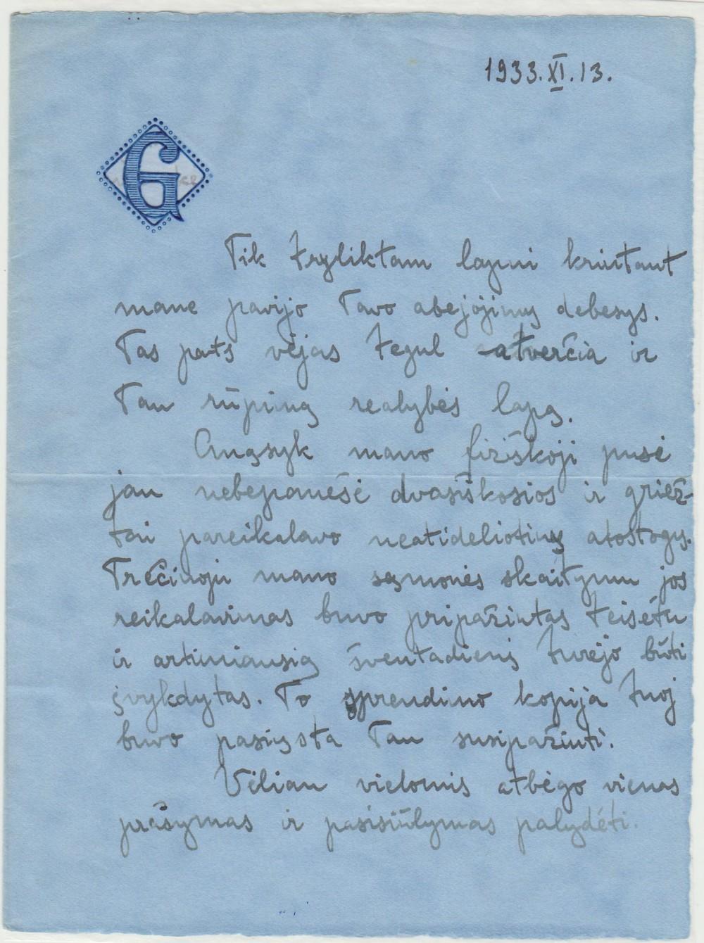 G. Tulauskaitės laiškas B. Babrauskui
